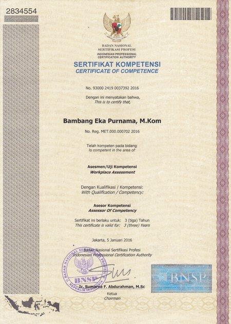 BNSP Sertifikat Kompetensi
